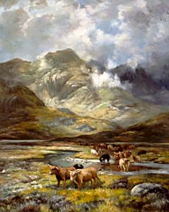 landscape paintings showing highland cows in the highlands of Scotland