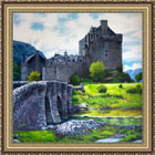 Scottish artists painting of Eilean Donan Castle