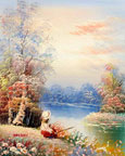 oil painting of countryside by the lake