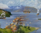Scottish painting of the battle of eilean donan