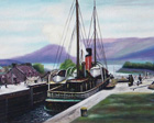 painting of old steamer going through the Caledonian canal to loch ness