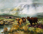 highland cows painting reproduction from a famous scottish artist