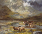 highland landscape painting with highland cows