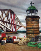 Landscape paintings of Scotland showing the Forth Bridge